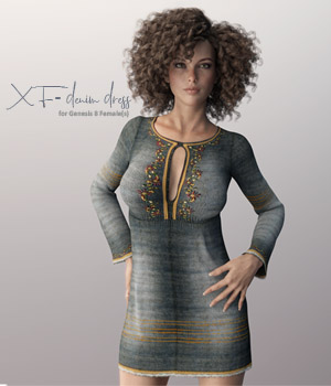 X-Fashion Denim Dress for Genesis 8 Females 3D Figure Assets xtrart-3d