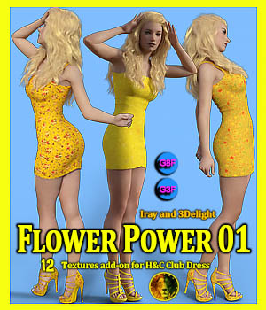 Flower Power 01 for IH Kang Club Dress for Genesis 8 Female and Genesis 3 Female 3D Figure Assets Lyone