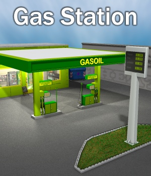Gas Station 3D Models greenpots