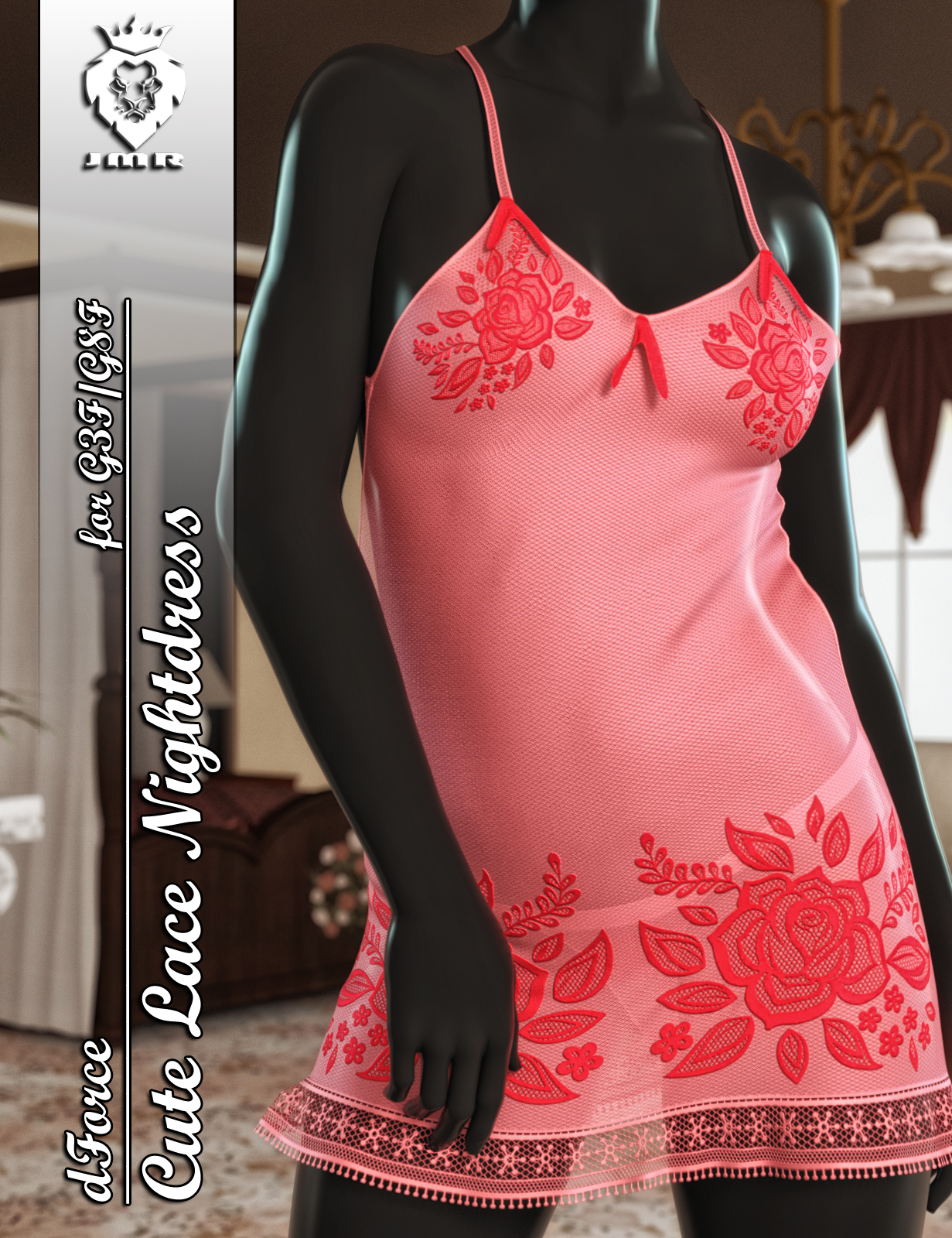JMR dForce Cute Lace Nightdress for G3F and G8F