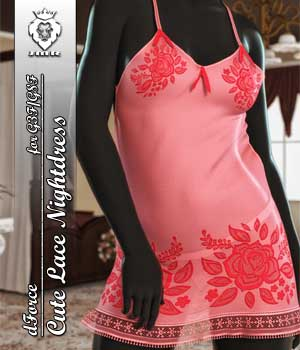 JMR dForce Cute Lace Nightdress for G3F and G8F 3D Figure Assets JaMaRe