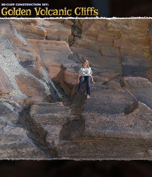 3D Cliff Construction Set: Golden Volcanic Cliffs 3D Models ShaaraMuse3D