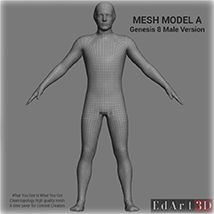 Full Body Suit Meshes for G8M - Content Creator MR image 1