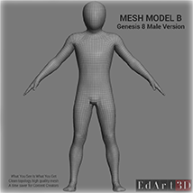 Full Body Suit Meshes for G8M - Content Creator MR image 3