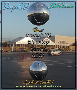 Disciple3D - Blacktop Sunset HDRI 3D Lighting : Cameras jdstrider