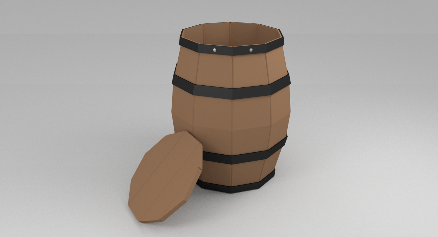Barrel Low Poly - Extended License