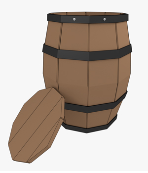 Barrel Low Poly - Extended License 3D Game Models : OBJ : FBX 3D Models Extended Licenses Narbbag