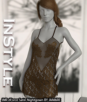 InStyle - JMR dForce Satin Nightgown 3D Figure Assets -Valkyrie-
