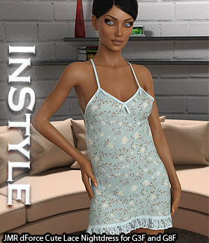 InStyle - JMR dForce Cute Lace Nightdress for G3F and G8F 3D Figure Assets -Valkyrie-
