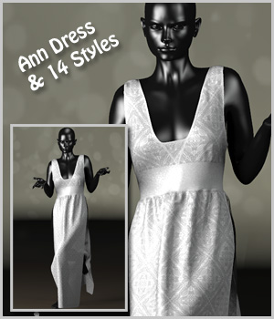 Ann Dress and 14 Styles for Project Evolution 3D Figure Assets karanta