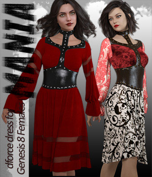 Mania dForce dress for Genesis 8 Females 3D Figure Assets ArtTailor