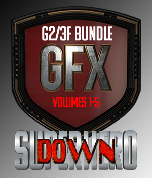 SuperHero Down Bundle for G2F and G3F 3D Figure Assets GriffinFX
