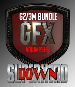 SuperHero Down Bundle for G2M and G3M 3D Figure Assets GriffinFX