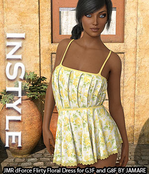 InStyle - JMR dForce Flirty Floral Dress for G3F and G8F 3D Figure Assets -Valkyrie-