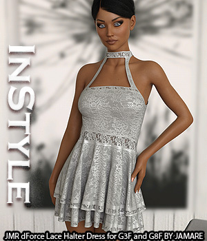 InStyle - JMR dForce Lace Halter Dress for G3F and G8F 3D Figure Assets -Valkyrie-