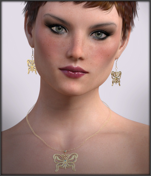 Flutters Earrings and Necklace for G3F G8F 3D Figure Assets -Wolfie-