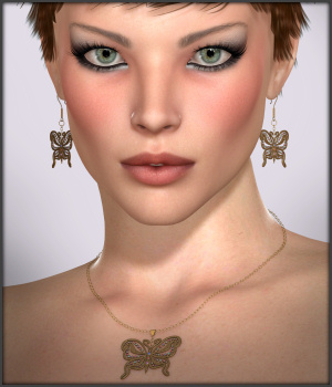 Flutters Earrings and Necklace for V4 3D Figure Assets -Wolfie-