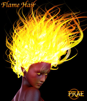 Prae-Flame Hair For G3/G8 Daz 3D Figure Assets prae