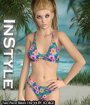 InStyle - Two Piece Bikini I for V4A4G4S4Elite and Poser 3D Figure Assets -Valkyrie-