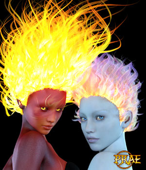 Prae-Fire Hair Double Pack G3/G8 Daz 3D Figure Assets prae