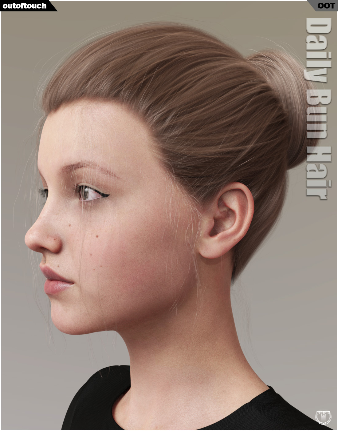 Daily Bun Hair for Genesis 3 and 8 Females 3D Figure Assets