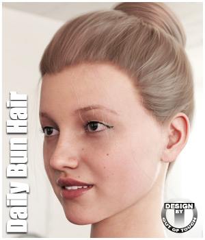 Daily Bun Hair for Genesis 3 and 8 Females 3D Figure Assets outoftouch