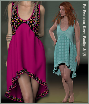 Jill Dress and 14 Styles for Evolution, V4, Dawn and Pauline 3D Figure Assets karanta