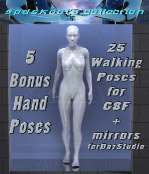 25 Walking Poses for G8F 3D Figure Assets spdskool