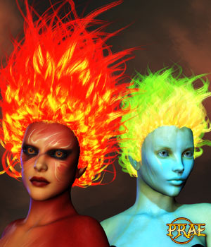 Prae-Fire Hair Double Pack V4/M4 Poser 3D Figure Assets prae