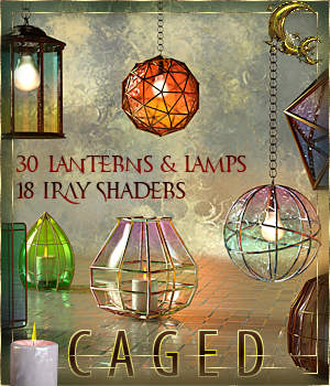 Caged Lanterns and Lamps for DAZ 3D Models Cyriona