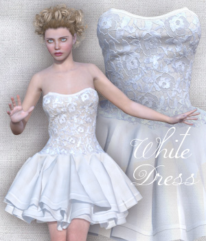 White Dress for V4 and Poser 3D Figure Assets Tipol