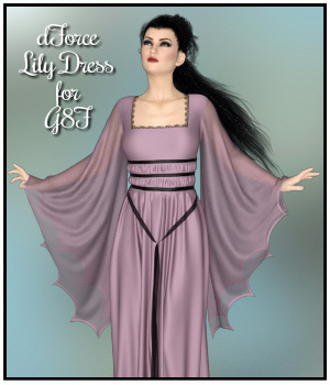 dForce - Lily Dress for G8F 3D Figure Assets Lully
