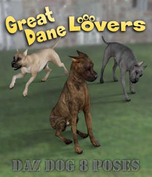 GREAT DANE Lovers Poses for Great Dane Breed  3D Figure Assets Winterbrose