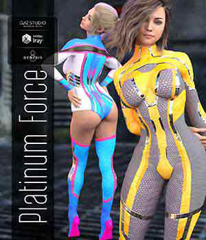 Platinum Force Ouitfit for Genesis 8 Female 3D Figure Assets Noyrac