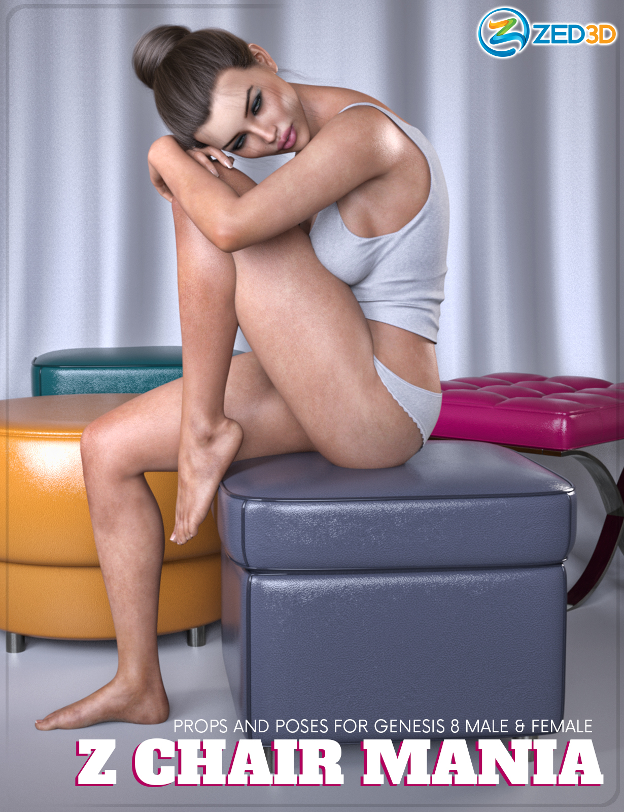 Z Chair Mania - Props and Poses for Genesis 8 Male and Female