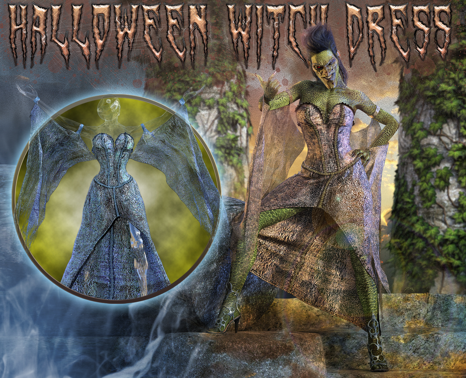 Halloween Witch Dress for Genesis 8 Females