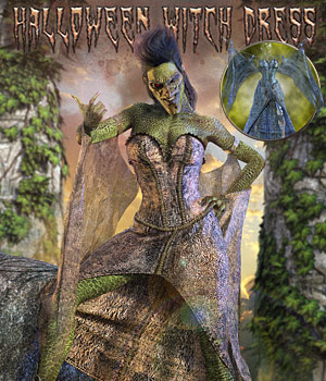 Halloween Witch Dress for Genesis 8 Females 3D Figure Assets PeterNeurohr