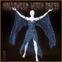 Halloween Witch Dress for Genesis 8 Females image 1