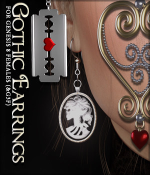SVs Gothic Earrings 3D Figure Assets Sveva