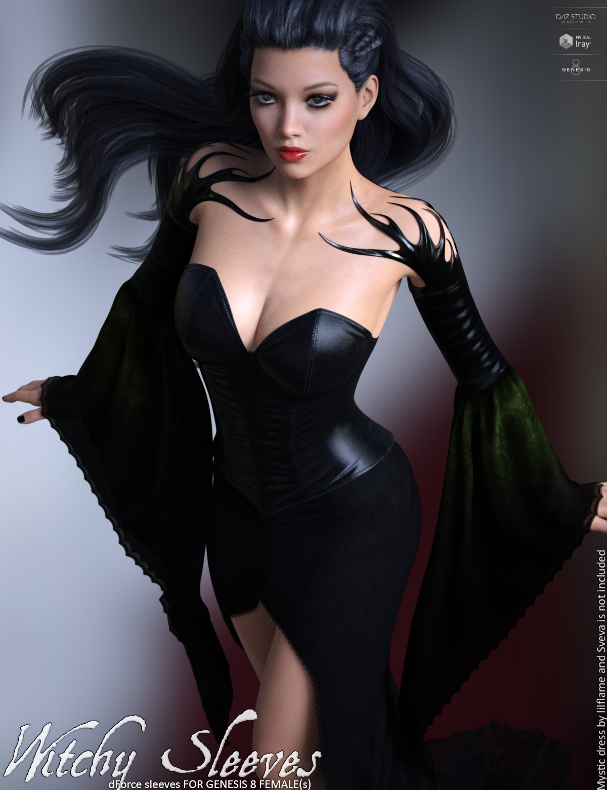 dForce Witchy Sleeves for Genesis 8 Females by lilflame