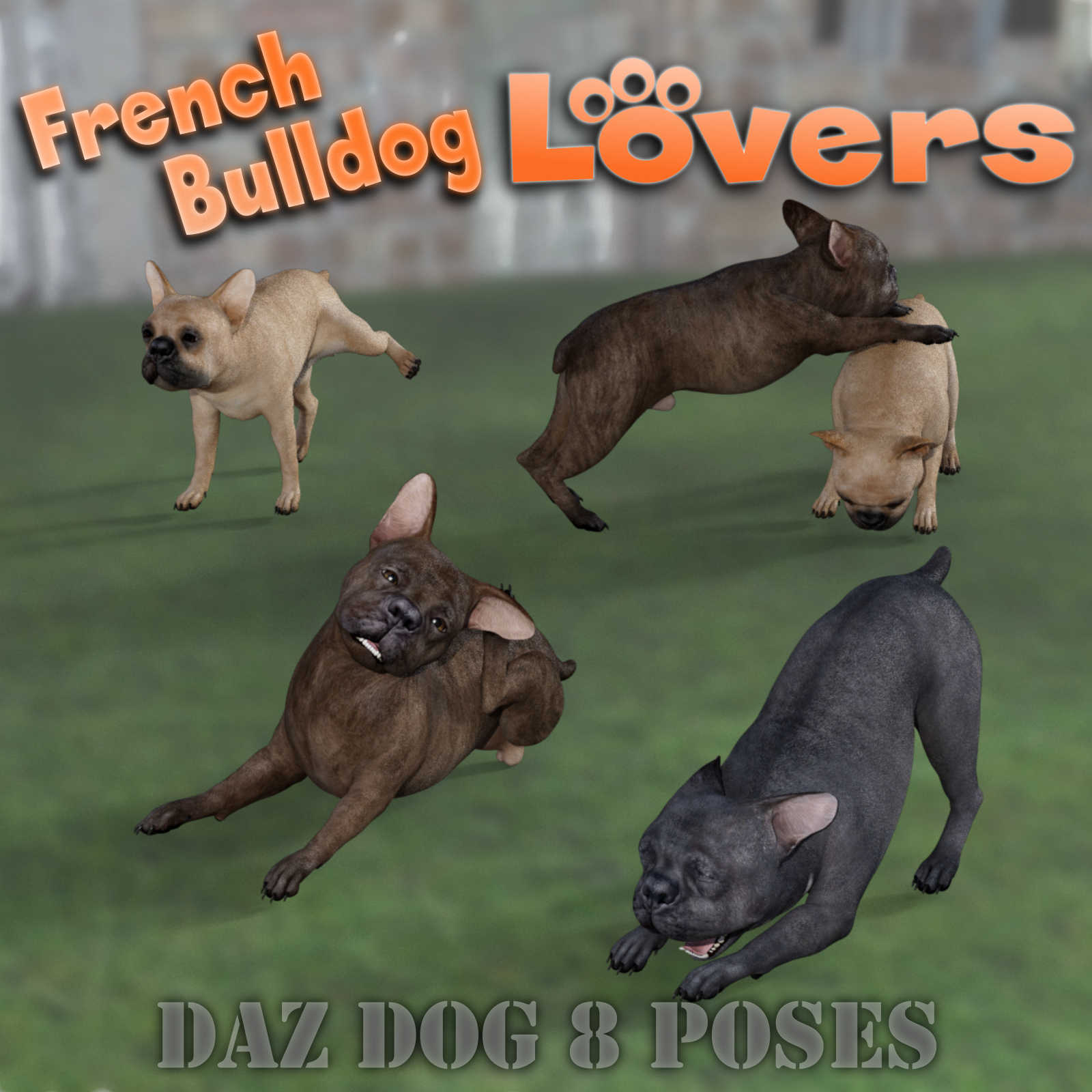 FRENCH BULLDOG Lovers Poses for French Bulldog Breed (Daz Dog 8) by Winterbrose