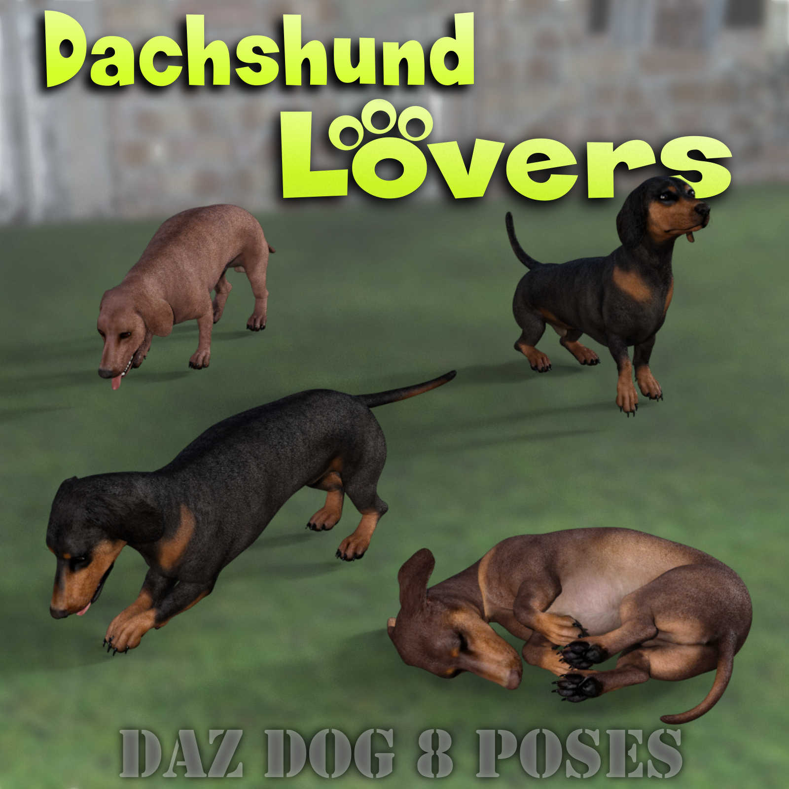 DACHSHUND Lovers Poses for Dachshund Breed (Daz Dog 8)