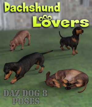 DACHSHUND Lovers Poses for Dachshund Breed (Daz Dog 8) 3D Figure Assets Winterbrose