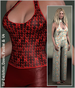 Grace Jumpsuit and 14 Styles for Project Evolution, V4, Dawn and Pauline 3D Figure Assets karanta