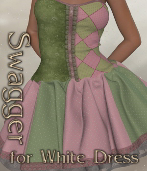Swagger for White Dress V4_Poser 3D Figure Assets JudibugDesigns