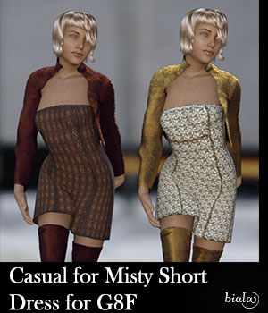 Casual for Misty Short Dress for G8F 3D Figure Assets biala