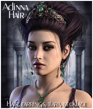 Adinna Hair for Genesis 3 and Genesis 8 3D Figure Assets RPublishing