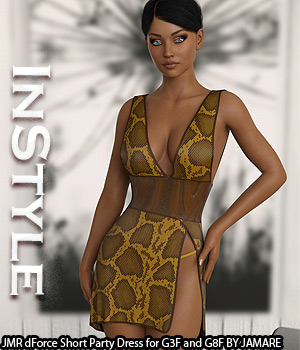 InStyle - JMR dForce Short Party Dress for G3F and G8F 3D Figure Assets -Valkyrie-