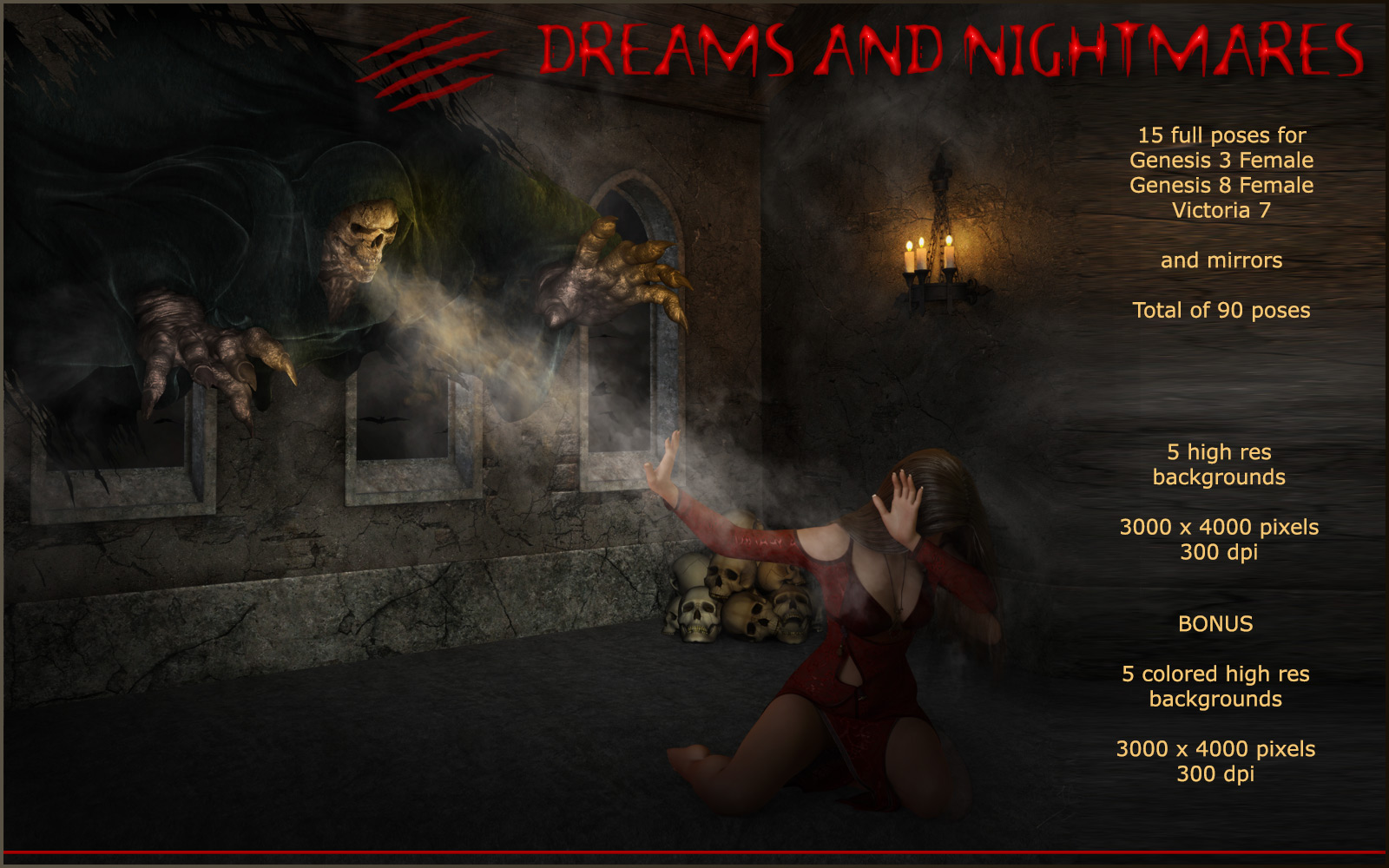 Dreams and Nightmares - Backgrounds and poses for G 3 and 8 F