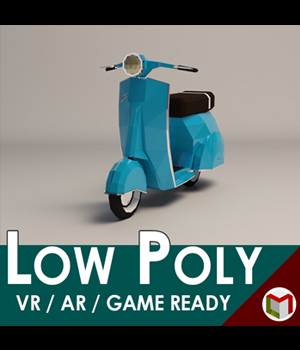 Low-Poly Cartoon Scooter - Extended License 3D Game Models : OBJ : FBX 3D Models Extended Licenses LinderMedia